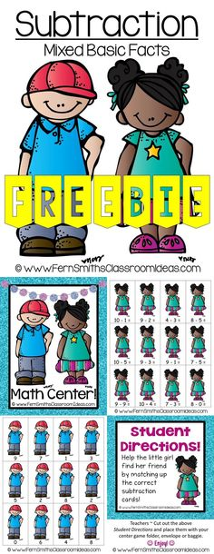 Free!! Quick and Easy to Prep Mixed Subtraction Basic Facts Center with a Cute Back to School Student Theme #Free #TPT