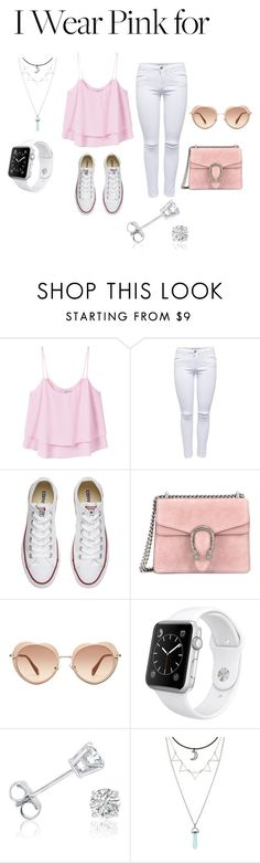 """""""Untitled #133"""" by cassandrabianca ❤ liked on Polyvore featuring MANGO, Converse, Gucci, Miu Miu, Apple, Amanda Rose Collection and IWearPinkFor"""