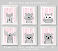 Woodland Nursery Art Baby Girl Room Grey and by SweetPeaNurseryArt