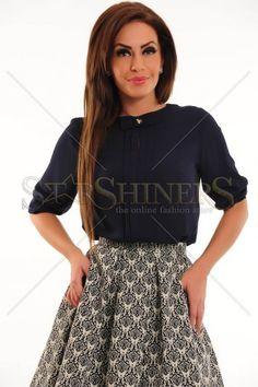 Bluza LaDonna Lady Bliss DarkBlue Bliss, Outfit Office, Skater Skirt, Dark Blue, Sequin Skirt, Sequins, Lady, Modern, Skirts
