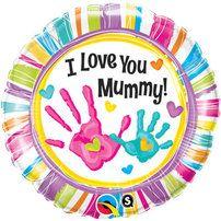 "Sweet I Love You Mummy Handprints Foil Balloon, measuring 18"".  £11.00"
