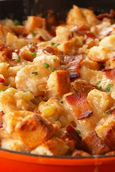 Beer nicely cuts the richness of the bacon and cheddar in this stuffing recipe.