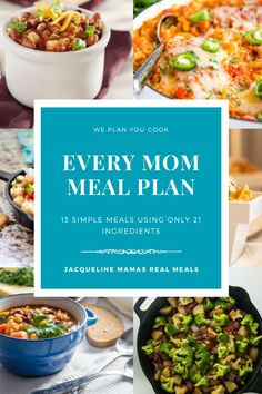 Free meal plans with a grocery list! This meal plan uses the same ingredients for 13 meals using less than 25 ingredients! Traditional family meal plan for a busy mom, using real, kid friendly recipes Easy Meal Plans, Free Meal Plans, Easy Meals, Frugal Meals, Freezer Meals, Family Meal Planning, Good Healthy Recipes, Easy Recipes, Recipes
