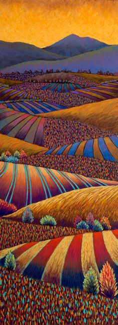 Golden Fields, Sunset, pastel painting by Daryl Storrs