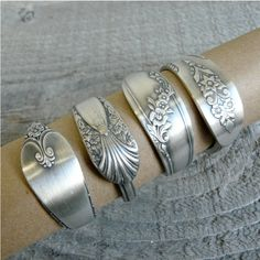 Napkin Rings Antique Silver Spoon Patterns Set of 4 by Revisions, $38.95