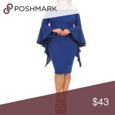 Plus Blue Dress Long Sleeve Bell Trumpet Cocktail Featuring a beautiful cocktail dress with trendy fun bell ruffled long sleeves. Contrast trim. Just about knee length - midi style. Stretchy crepe techno material. Sexy off shoulder style. Fun and flirty style!  Made of: 94% Polyester & 6% Spandex Dresses Long Sleeve