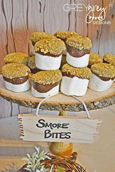bite size smores using the giant camping marshmallows!! what a fun (and yummy!) party treat -