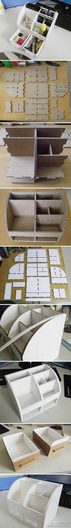 DIY cardboard desk organizer, so clever! If I'll ever decide to make it, I'll repurpose it to be a makeup stuff organizer