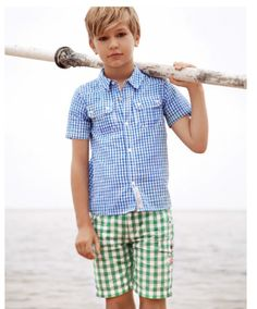 country road boy- gingham on gingham... love it.