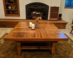 This oversized cocktail table/massive coffee table with a beautiful inlayed wood design. Oversized Square Coffee Table, Large Coffee Tables, Corner Wine Bar, A Table, Dining Table, Recycled Door, Entry Tables, Industrial Table, Decorating Coffee Tables