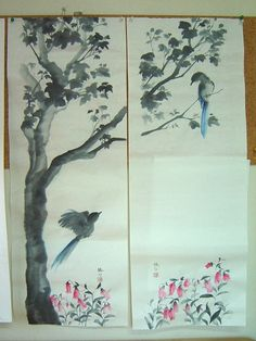 Birds in tree ink painting on scrolls