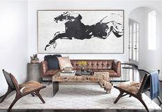 Hand painted Minimalist painting on canvas, Large horizontal black and white horse art for minimal interiors. CZ ART DESIGN @CeilneZiangArt