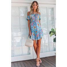 09bb5ac806 Bohemian Wind Short Skirt Sweet Shoulder-exposed Chest String Shoulder  Printed Dress Summer
