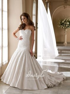satin and lace modified sweetheart dropped waistline a-line wedding dress uk