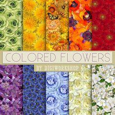 "Floral Digital Papers: ""Colored Flowers"" set with floral multicolor patterns, digital floral backgrounds, flower backdrops"