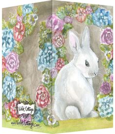 Baby bunny small enclosure card with flowers - watercolors and gouache - http://www.violetcottage.com/small-enclosure-cards/350-small-enclosure-card-fluffy-bunny-with-flowers.html
