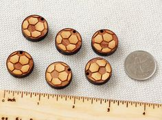 Soccer Ball Set  collection of 6pcs wooden charms by Schmaser