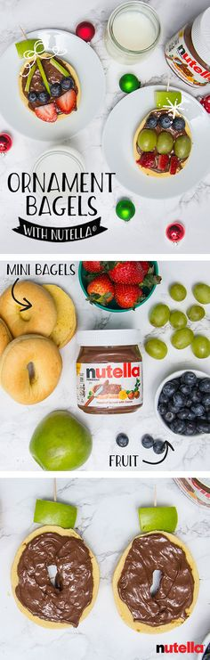 For an ornate breakfast everyone can enjoy, start by topping store-bought bagels with Nutella®. Next, have the whole family decorate together with fruit and voila, a new Christmas tradition!