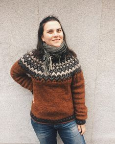 Ravelry: Project Gallery for Riddari pattern by Védís Jónsdóttir for Ístex Icelandic Sweaters, Wool Sweaters, Fair Isle Knitting, How To Purl Knit, Textiles, Sweater Design, Comfortable Outfits, Slow Fashion, Sweater Weather
