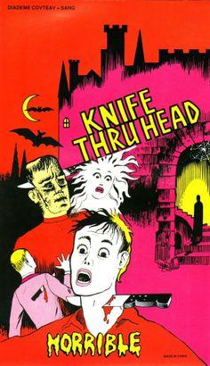 knife thru head novelty ad