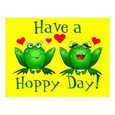 Have a Hoppy Day! Happy cute cartoon frogs Twitchy and Beulah, with red hearts, on a cheerful bright yellow postcard. Funny Frogs, Cute Frogs, Good Morning Good Night, Good Morning Quotes, Morning Thoughts, Morning Images, Frog Pictures, Frog Pics, Hello Pictures
