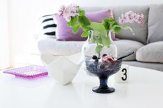 Iittala Kastehelmi / Muuto Silent / Muuto Crushed / Design Letters / Marimekko / Designeres Guild / Icecream / Blueberries / Purple and blue