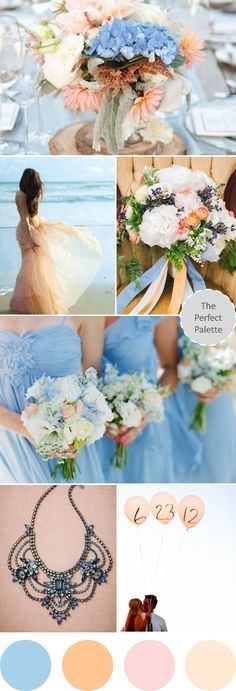 Blue and peach wedding colors