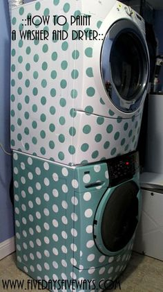 Painting Projects: Paint is a great way to give a cohesive look to mismatched washing machine and dryer sets. Plus, this fun polka-dot pattern would liven up any laundry room. Now you can have any color machines you want! Washing Machine and Dryer Painting Tutorial