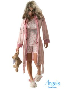 The Walking Dead is a US TV series and this little lovely is our little girl Zombie fancy dress costume, designed to fit adults size 10 - 12. The costume pack contains a bathrobe with attached PJ-front and a matching pair of shorts, a pair of soft bunny slippers and a mask (sorry Teddy is not available). Simply add a lot of blood to make this a truly horrific halloween costume. http://www.fancydress.com/costumes/Adult-Little-Girl-Zombie/0~4336358~217
