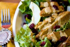 Apple Cranberry Salad with Fried Seitan and Almond Dijon Dressing by teenytinyturkey, via Flickr