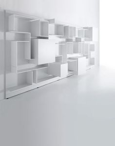 MDFITALIA / full height book case storage cabinet / white / modern
