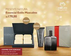 Presente Natura Essencial Estilo Masculino - Deo Parfum + Gel pós Barba + Sabonete em Barra + Embalagem Desmontada (COD. PROD. 56566)  por R$ 179,00 ou 5 x de R$ 35,80 sem juros no cartão de crédito   http://rede.natura.net/espaco/adrianacosmeticos/presente-natura-essencial-estilo-masculino-deo-parfum-gel-pos-barba-sabonete-em-barra-embalagem-desmontada-56566?_requestid=1274143