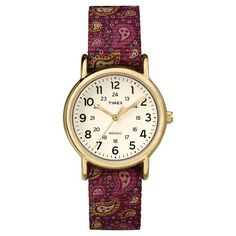 Timex Weekender Mid Size Slip Thru Reversible Nylon Strap Watch with Case - Burgundy/Paisley/Gold