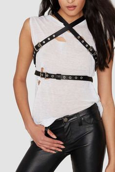 JAKIMAC Maxx Criss-Cross Leather Harness Belt with by JAKIMACSHOP