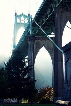 Portland Photography Oregon Travel Landmark St. John's Bridge Cathedral Park aqua blue white misty
