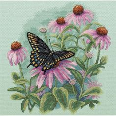 """Butterfly & Daisies Counted Cross Stitch Kit-11""""X11"""" 14 Count"""