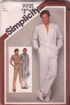 Simplicity 9925 1980s Mens Zip Front Jumpsuit Pattern Stand Up Collar Mans Vintage Sewing Pattern Chest 42