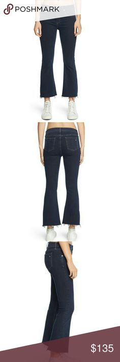 NWT Rag & Bone Jeans Sz 26 Cropped Flare Rag & Bone 10 Inch Cropped Flare Jeans Sz 26. Dune Color (dark denim) Raw frayed un-hemmed  Excellent New Condition!  Awesome Quality.  Sold out on Rag & Bone Website. Retails $225  Waist up to 27 in. Rise 10 in. Hips 34-37 in. (some stretch) Inseam 26 in.  Smoke and Pet Free environment  Style:W1594K089DUN rag & bone Jeans Ankle & Cropped
