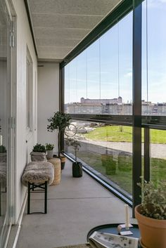 Minimalist Scandinavian, Scandinavian Style, Grey Flooring, Wooden Flooring, Sunroom Office, Dark Wooden Floor, Modern Balcony, Metal Railings, Yellow Curtains