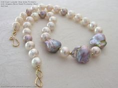 Giant Lavender Blue Green Fireballs with Shimmery White Round Freshwater Pearl Necklace