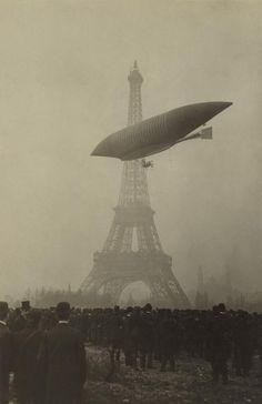 LA REPUBLIQUE a semi-rigid surveillance airship built for the French flying near the Eiffel Tower. Paris ca. 1908