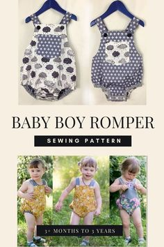Sewing pattern for a Baby Boy Romper(3+ months to 3 years). This beauty is a classic baby romper/sunsuit for boys and girls. The romper is completely reversible so fabric is required for both faces and there is no need for facings. It features a bib pocket, elastic back waist and leg openings, cross-over button-on straps and has a crotch opening with snap fasteners. The leg openings have bias binding edging which is used to form the elastic casings. Bias pattern and instructions are included. Tw Boys Sewing Patterns, Sewing For Kids, Free Sewing, Rompers For Kids, Baby Sewing Projects, Bias Binding, Baby Boy Romper, Kids Pants, Modern Kids