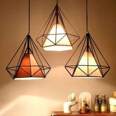 Modern Industrial Style Metal Wire Frame Ceiling Light Shades Diamond Cage Decor in Home, Furniture & DIY, Lighting, Lampshades & Lightshades