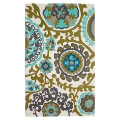 Anchor your living room seating group or define space in the den with this artfully hand-loomed cotton rug, featuring a suzani-inspired medallion motif for e...