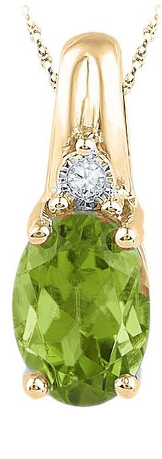 10kt Yellow Gold Womens Oval Lab-Created Green Peridot Solitaire Diamond Pendant 1.00 Cttw 101331