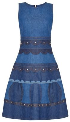 REDVALENTINO Studded sleeveless denim dress