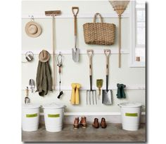Makeover: The Garage Turned Garden Shed.again, not sure garage make-over, but definitely fo the garden shed. Garden Tool Organization, Garden Tool Storage, Shed Storage, Garage Organization, Garage Storage, Storage Spaces, Garden Tools, Storage Ideas, Organized Garage