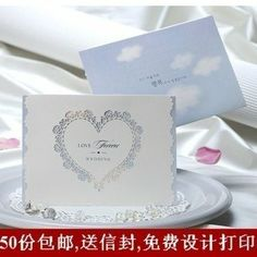 Exquistie Embossed Heart Shape 50pcs*lot Wedding Invitation Card Wedding Invites free customized freeshipping with envelope