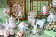 """Ladurée-inspired dessert table"" - mint, pink, white, gold."