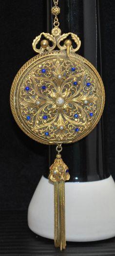 Jeweled Filigree Dance Purse Double Compact Top Vanity Bag
